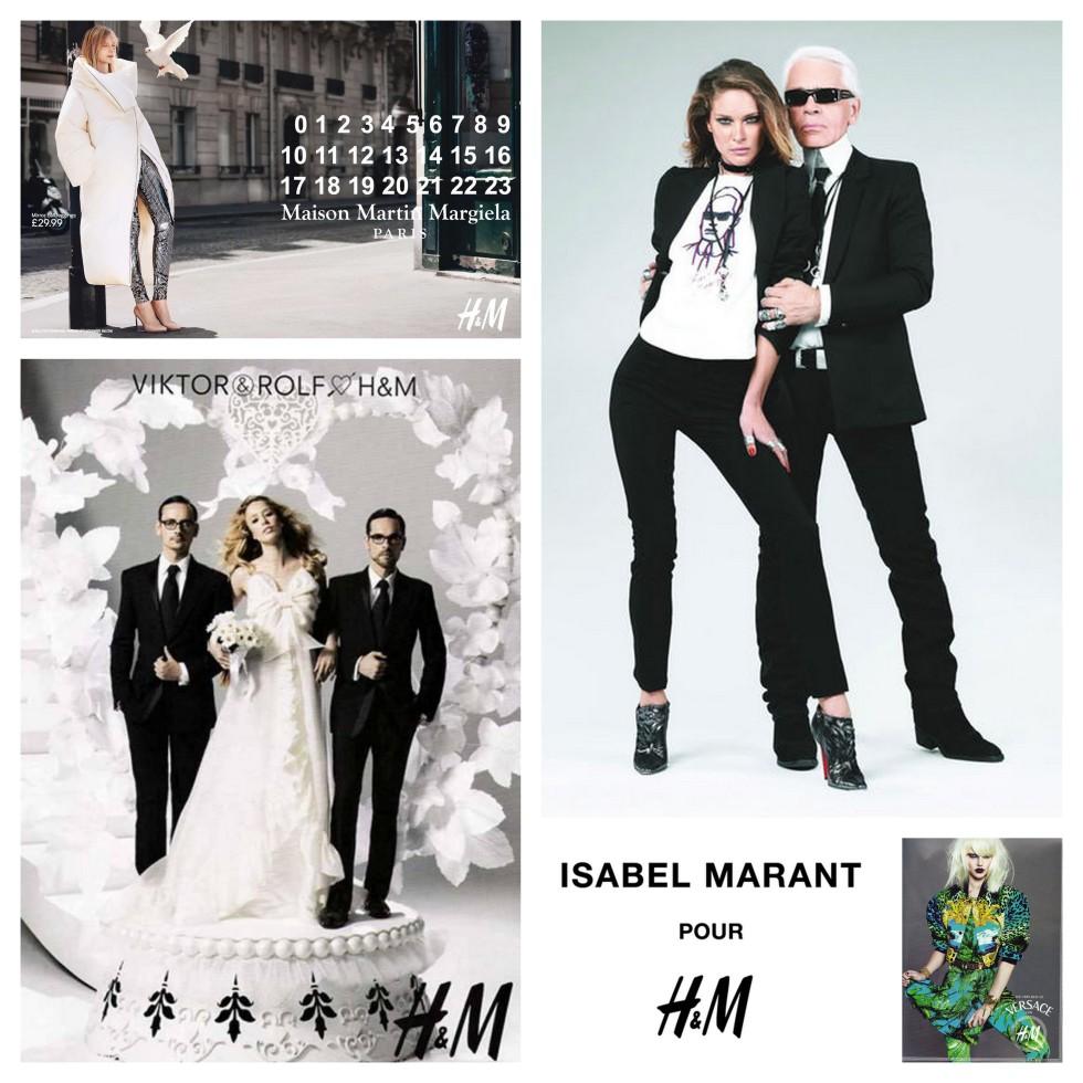 Im Uhrzeigersinn: Maison Martin Margiela; Karl Lagerfeld; Versace; Isabel Marant; Viktor&Rolf